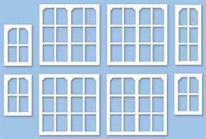 Pack includes: 8 Large windows (20mm x 20mm), 2 Standard windows (9mm x 20mm) , and 6 Small (9mm x 14mm) classic Midland style signal box windows.