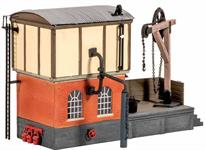 The kit comprises a coaling stage, water tower with crane, and a hoist for loading the coal. This model and the Engine Shed kit (Ref 522) make a good starting point for any layout in need of steam engine facilities. The Pecoscene Real Coal range (PS-330 -332) provides the perfect addition, as do the Pecoscene Ash and Cinder Scatter Materials (PS-320 - 322). An Inspection Pit (Peco LK-56/156) was also a common feature. Supplied with pre-coloured parts although painting and/or weathering can add realism; glue is required to complete this model. Footprint: 140mm x 80mm