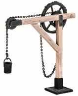 Plastic kit to build a model of a simple hoist crane. Capable of lifting light loads like sacks and barrels. The hoist could be used free-standing, but would often be braced, mounted to the side of or inside a building to improve the load capacity.
