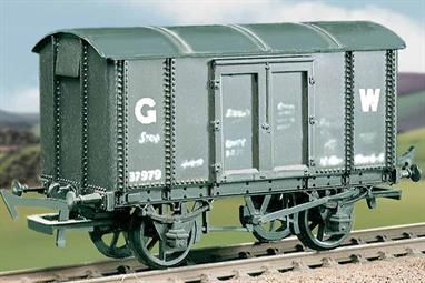 Plastic model kit building a GWR iron mink ventilated van. These robust iron and steel bodied wagons built in the 1900s lasted well into British Railways era. This kit has been produced under the Ration banner for many years and has now been merged into the Parkside range.