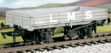 The 3-plank open wagons had proven very useful in the pre-grouping era and this kit builds the LMS standard design. The full-length drop sides allowed easy loading and unloading of road vehicles, farm machinery and for aggregates. 6,600 were built between 1935 and 1947, with British Railways continuing to build this wagon type with a more robust steel body after 1950. This kit has been produced under the Ratio banner for many years and has now been merged into the Parkside range of plastic wagon kits.