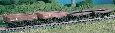This kit builds a set of 4 LNWR / LMS wagons comprising a pair of close-coupled single bolster wagons for carrying long loads like rail or bridge girders and 2 low sided open wagons which would typically convey sleepers, ballast and track maintenance tools. Kit includes metal wheels, transfers, metal buffer heads and the rail load as shown. This kit has been produced under the Ratio banner for many years and has now been merged into the Parkside range of plastic wagon kits.