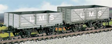 This kit builds 2 open wagons of LNWR design, one designed for coal loading with the other for general merchandise. The kit includes metal wheels, transfers and metal buffer heads. This kit has been produced under the Ratio banner for many years and has now been merged into the Parkside range of plastic wagon kits.