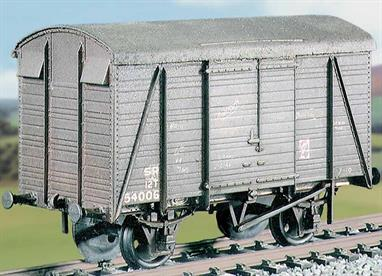 The Southern Railway revised its distinctive triple-arc roof ventilated box van design in the 1930s to make better use of thin planks with a 2 wide + 2 narrow planking arrangement. This kit builds a model of the vans built from 1941 to 1944 using the 10ft wheelbase RCH type underframe, including 500 vans supplied to the LMS and 650 to the GWR. This kit has been produced under the Ratio banner for many years and has now been merged into the Parkside range of wagon kits.