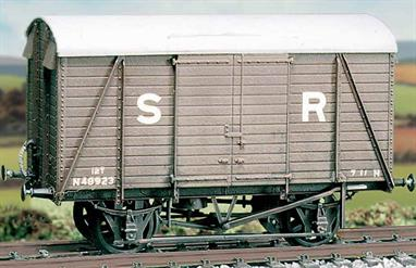 This kit builds a model of the Southern Railways standard 12ton ventilated box van with the distinctive triple-arc roof body on the RCH 10-feet wheelbase underframe, 1,000 of this design were built from 1936 to 1939. Extra vents and transfers are included for the vans equipped for service into Europe via the Dover train ferry service. This kit has been produced under the Ratio banner for many years and has now been merged into the Parkside range of wagon kits.