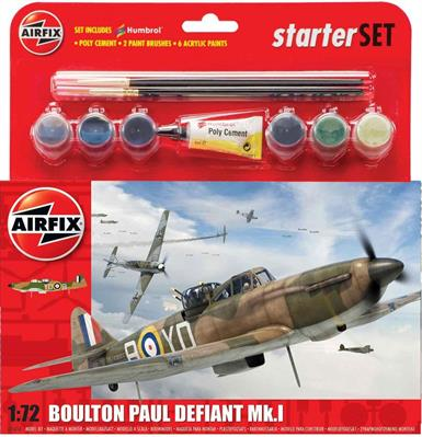 The newly tooled Airfix Boulton Paul Defiant in a 1/72nd scale iis in A55123 a gift set complete with glue,2 paint brushes and basic water based paints.