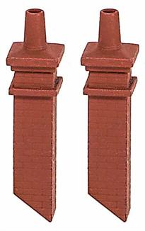 2 brick built chimney stacks with pots in kit form. Supplied with pre-coloured parts although painting and/or weathering can add realism; glue is required to complete this model.