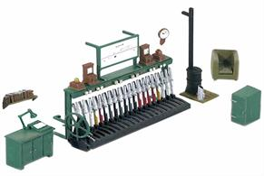 Adds the finishing touches to any signal box (See Ratio 500, 503, 536, 552 and Wills SS48 kits); it contains all you need to fit out a typical signal box including a 20-lever frame and a level crossing operating wheel. Glue and paints required to complete model.