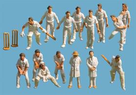 Model Scene 5300 Cricket Team plus opposing team batsmen, wickets and umpires.Set of 15 cricketer figures comprising batsmen, bowler, fielders and umpires plus a pair of wickets.
