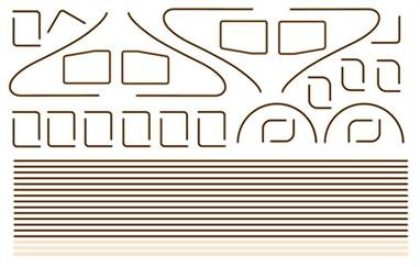 Modelmaster Decals MM4088 00 Gauge Orange /Black /Orange LiningOrange /Black /Orange Lining. As Sheet 4081, but with Parabolic Curves for the front of two x Class A4, W1 & B17 (Streamlined) locos. Two pairs of shaped 'A4' Cab side Lining Panels included.
