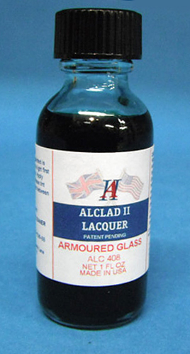 Alclad Armoured Glass Transparent Tint Lacquer ALC408<br>Transparent lacquer to provide the tinted shading of armoured glass, as found in most military aircraft cockpit windscreens since WW2 and many jet-age civil airliners.