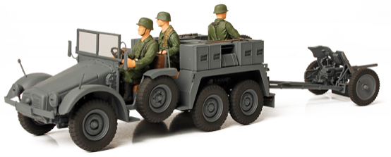"Unimax Forces of Valor German Kfz. 69 towed Pak 36 Baltic 1941 Livery<p>1/32 Scale</p><p>The ""Krupp-Protze"" was a six-wheeled German truck and artillery tractor used by German forces in World War II. It was powered by a 55 hp or 60 hp (after 1936) Krupp M 304 4-cylinder petrol engine. Its main purpose was to tow artillery, especially the PaK 36. The Pak 36 (Panzerabwehrkanone 36) was a German anti-tank gun that fired a 3.7 cm calibre shell. It was the main anti-tank weapon of Wehrmacht infantry units until 1942.</p><p>This vehicle was extensively used on the Eastern Front, North African campaign and in France and Sicily. The ""Krupp-Protze"" was of relatively advanced design. It was mass-manufactured between 1933 and 1941. Its fuel consumption was relatively high (24 Litres / 100 km on road) in comparison to the comparable Opel Blitz 1.5 t truck (16.5 liters / 100 km, produced 1938 - 1942). Total production was about 7,000 units.</p>"