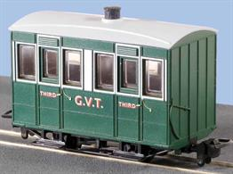 Small 4-wheel coaches were the usual choice for narrow gauge railways, being well suited to the small gauge and sharp curvature of many of these lines. The Glyn Valley Tramway purchased a number of generally similar 4 wheel coaches, with a better standard of fittings in the first class compartments.This ready to run model is of one of the fully enclosed coaches used year-round on the line, two of which are still in service on the Talyllyn Railway, finished in the Glyn Valley Tramway green and cream livery.Peco are usually able to supply us with their models quickly, please allow 14 days for delivery.