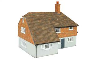 Ready painted cast resin model of a typical country cottage, also suitable for use as farm house or for country village or town house dating from the pre-WW2 era.