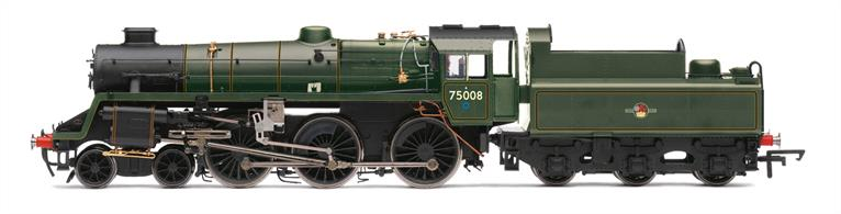 Hornbys' BR standard class 4MT 4-6-0 returns in late Western region format with double chimney, painted in lined green and displaying the ex-GWR blue route restriction 'spot' on the cabside.