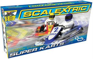 Scalextric Super Karts Slot Car Set C1334Scalextric bring back the karts with C1334 Super Karts.Start your racing career right here! Two racing karts set you on your way to learning the basics of car control and racing tactics. The set is quick to set up in minutes but gives hours of fun.Set contains:2 carstrackcontrollerspower supplyaccessoriesSpace Required: 205 x 147cmLength: 484cm