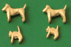 a selection of cats and dogs in 4mm scale. Pack of 4 cast in whitemetal unpainted.