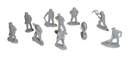 Dapol OO Railway Workmen C2Pack of 39 unpainted figures in working poses including track workers and uniformed railway staff.