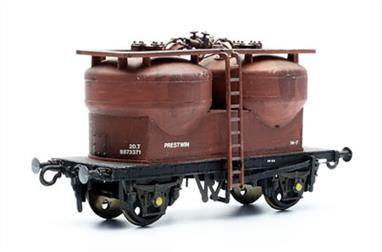 Dapol C43 00 Gauge Prestwin Twin Silo Wagon KitPlastic assembly kit to build a model of the two-silo pressure discharge bulk powder wagon, coded Prestwin.These wagons were built as potential alternatives to the well-known Presflo covered hopper wagons. While this design was popular in mainland Europe they proved less successful for BR, however they did find their niche in service and bring variety to your goods trains.Like all kits care in assembly is rewarded, especially with this kit from older tooling. Dapol now supply metal wheels, assemble the chassis carefully to ensure that the wheels will turn freely and the completed wagon will run well. Remember to add some weight inside the silos before sealing them up!