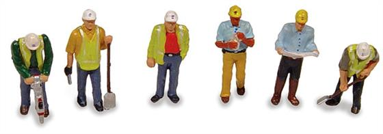 Bachmann OO Civil Engineers Pack of 6 Figures 36-052A pack of six workmen figures in various poses suitable for civil engineering scenes and building sites.