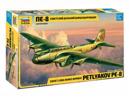 Zvezda 7264 1/72nd Petlyakov Pe-8 WW2 Soviet Bomber KitNumber of parts 305   Length 320mm