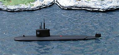 A 1/1250 scale metal model of Rubis, S601, a much admired French diesel-electric submarine.