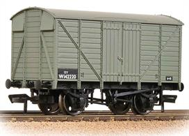 Model of a GWR design ventilated goods box van in the BR goods grey livery.
