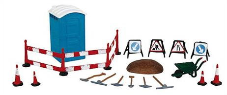 Bachmann OO Building Site Tools and Accessories 36-048Pack of building site or roadworks accessories, including portable toilet, road signs and cones, warning / pedestrian barrier, picks, shovels and wheel barrow.
