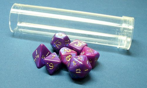 D&G  7 Mini Purple Interferenz Poly Dice in Tube DPMIN07TB