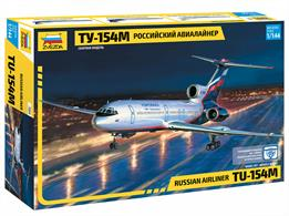 Zvezda 7004 1/144th TU154M Russian Airliner KitNumber of Parts 76   Length 330mm
