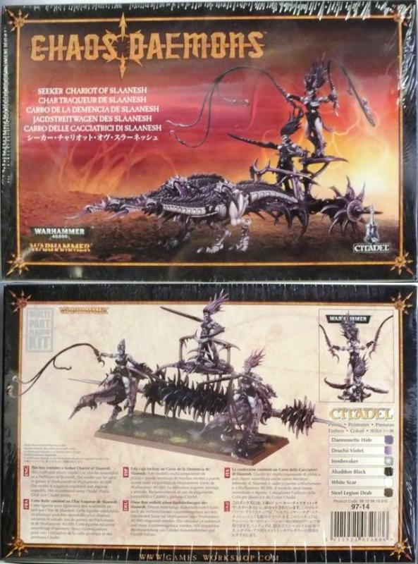 This box contains a Seeker Chariot of Slaanesh. This multi-part plastic model can be assembled as a Hellflayer of Slaanesh. The model can be used in games of Warhammer or Warhammer 40K. The model is supplied unpainted and requires assembly.