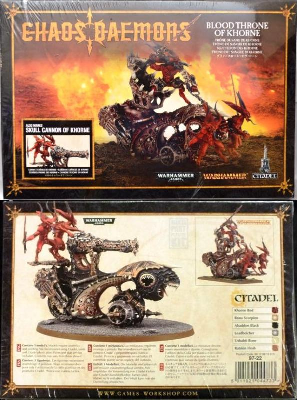 <P>This box contains a Blood Throne of Khorne.  This Multi-part plastic model kit can also be assembled as a Skull Cannon of Khorne.  The model is supplied unpainted and requires assembly.</P>