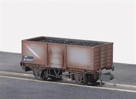 A weateherd version of the Peco 16-ton steel bodied mineral wagon.