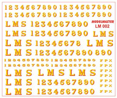 Modelmaster Decals MMLM001 00 Gauge LMS 1928-1947 Serif Locomotive Lettering and NumberingDecal sheet of LMS yellow lettering with red shading as used throughout the companys' existance on black liveried secondary passenger, mixed traffic and goods locomotives.The sheet includes numbers in several sizes, check photographs for details as the size of the numbers was choosen to fit the space available, but sometimes whichever transfers were in stock were used!