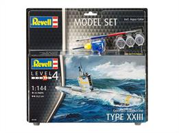 Revell 1/144 Type XXIII U Boat Submarine Model Set 65140Length 242mm Number of Parts 23Comes with glue and paints to assemble and complete the model.