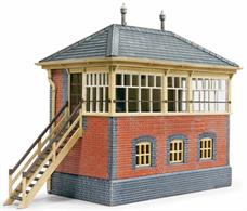 A well designed model kit to build a model of a brick-built GWR signal box. This was a standard GWR design and a huge number were built all over the system. Despite rationalisation over the years there are still many to be seen today, with a number still in operation on heritage railways. The model is based on the medium sized box at Buckfastleigh on the South Devon Railway, a quite small country station with loops and goods sidings.This model will be perfect for a country stations and branchline junctions, but can easily be altered. The GWR built these signal boxes on a modular basis, so the kit can easily be shortened (by removing the central window unit and one of the adjacent frame uprights) to create a box for a small station. Similarly kits can be combined and/or used with some embossed plastic sheet to add window frame units to recreate a large box suitable for a mainline station.Features include the finely moulded GWR signal box window frames, steps and typical GWR-style slate roof. Moulded in the correct colours, painting is optional but good results can be obtained by carefully painting, especially as the GWR often used engineers blue bricks for corners and foundation courses. Running a wash of cream/grey paint over the wall then wiping off the brick surfaces to leave the lighter colour in the grooves also nicely recreates the appearance of the mortar between the bricks.