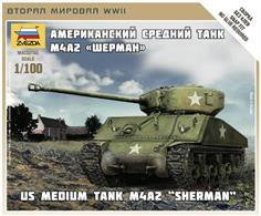 Zvezda 6263 1/100 Scale US Medium Tank M4A2 Sherman