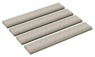 Scenecraft 44-563 00 Gauge Straight Pavements Pack of 4Straight Pavements (x4) 120mm x 20mm x 4mm