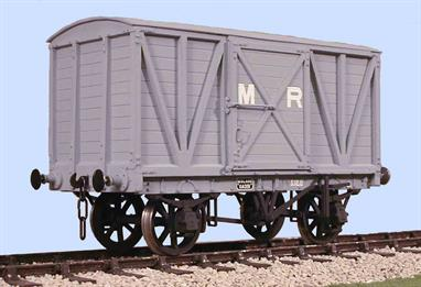 A plastic kit to build a model of the Midland Railway 10-ton covered goods van. Built in the early years of the 20th century many of these vans were still in service in the 1950s.