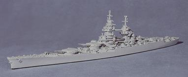 A 1/1250 scale metal waterline model of Richelieu in 1945 by Navis Neptun 1402. Modelled after her US refit in 1944, Richelieu had the distinction of fighting both for and against the British in WW2.