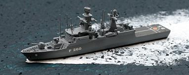 A 1/1250 scale metal, waterline model of Braunschweig, a class 130 corvette of the German Navy. The model is fully assembled and painted.