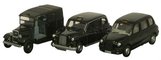 Oxford Diecast 1/76 Triple Taxi Set 76SET09Set of 3 London Taxi cabs from the 1930s to the present day.Set includes the Austin taxi of the 1930s, FX4 of the 1960s and recent TX1.
