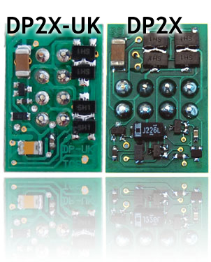 Train Control Systems DP2X-UK Plug-In Two Function Locomotive Decoder DP2X-UK<BR>The easiest decoder fitting yet! This direct plug-in decoder with an integral 8-pin plug, no wire harness, no soldering.<BR>This is the 'UK' version of the DP2X decoder, with the integrated 8-pin plug fitted lengthwise.<BR>Ideal for locomotives with limited decoder space, this decoder is only a little larger than the standard blanking plugs!<BR>Output rating 1.3-amp, 2.0-amp peak motor drive<BR>Two 100mA function outputs<BR>Length 22mm, Width 18mm, Height 4.5mm. Integrated 8-pin plug fitted lengthwise.