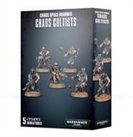This kit includes 10 components and five Citadel 25mm Round bases with which to make 5 Chaos Cultists.