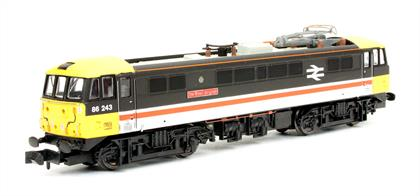 Dapol N Gauge 2D-026-003 BR 86243 The Boys Brigade Class 86 25Kv electric locomotive InterCity Executive LiveryInterCity introduced a new and dynamic livery in the mid-1980s, later developing into several variants. This model of 86243 The Boys BrigadeLancashire Witch is to be finished in the Executive livery initially applied to locomotives working the main West Coast expresses.The Dapol Class 86 features:Finely detailed body with many extra fitted items5 pole Super Creep motor with incredible controllable slow running speedAll wheel drive and pick upDirectional lightsFinely detailed and posable pantographDCC Ready with provision for a 6 pin decoderAccessory bag with optional fitted partsOrder now for delivery expected end Q3 / start Q4 2018DCC fitted version will be available, please contact us if you would like to order the DCC fitted model.
