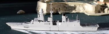 This model is beautifully finished in the French Navy's unique light gray and the excellence of the casting shows off the clean, sharp lines of the prototype, Forbin class Destroyer.