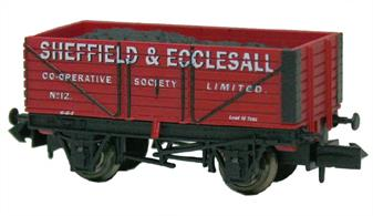 This N wagon is a model of wagon 12 operated by the Sheffield and Ecclesall Co-Operative Society, painted in anï Indian red scheme with shaded lettering.Coal was a common product sold by Co-Operative societies, the society being able to order coal in wagonload quantities and obtain good pricing from collieries. We will be featuring other Co-Operative wagons in our future releases.The Sheffield and Eccleshall Co-Operative was formed by the merger of the original Sheffield society with the Eccleshall Society. Through further mergers the society has enlarged considerably, now being the Sheffield branch of the Yorkshire Co-Operative.