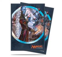 80 sleeves with a picture of Dovin Baan from Kaladesh on the back. Sized to fit MTG/Pokemon cards