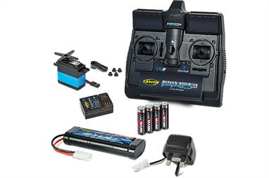 This pack provides the radio control unit and items necessary to complete a Tamiya kit, except paint, to personalize a car. Some vehicles may also require a motor and or speed controller - a check is necessary. as kits vary. Contents: 2.4ghz Stick Radio, Receiver,1 Servo, 7.2v Pack & Slow Charger, and AA batteries for the Transmitter.Products may vary from illustration.