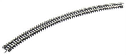 A new large radius Setrack curve. This is ideal for those wanting to run long passenger trains and modern goods vehicles at speed without derailments.Radius 333.4mm/13.1in. Angle 45 degrees. 8 required to for a complete circle.Peco track is manufactured in Great Britain using quality nickel-silver rail which offers good electrical conductivity and corrosion resistance. Setrack track is supplied with fishplates already fitted and is compatible with the track supplied with Graham Farish train sets. Suitable for use with all manufacturers' N gauge model trains.
